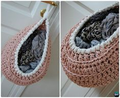 DIY Crochet Hanging Storage Basket Free Pattern