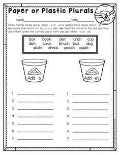 Teaching kids to -s or -es can be difficult. Help them practice using Paper or Plastic Plurals which is part of an Earth Day Mini Unit.