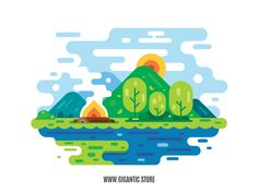 I created a flat design landscape illustration in Adobe illustrator just from simple geometric forms. If you are a fan of flat art and want to learn how to create your own flat design illustration, check out my website. Simple Illustration, Flat Design Illustration, Character Illustration, Vector Design, Vector Art, Graphic Design, Draw Vector, Dog Design, Game Design