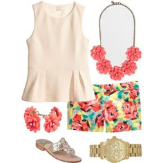 A fashion look from February 2014 featuring H&M tops, Jack Rogers sandals and J.Crew necklaces. Browse and shop related looks.