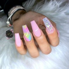Some of my very most FAQs have to do with my nails! At any time I get my nails done I get tons and also lots of DMs regarding it. What did you do for you nails? Summer Acrylic Nails, Best Acrylic Nails, Colourful Acrylic Nails, Pastel Nail Art, Aycrlic Nails, Swag Nails, Posh Nails, Fire Nails, Dream Nails