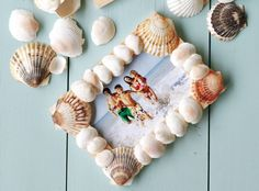 sea shells crafts ideas | Take a look at a larger image of this fun beachy frame.