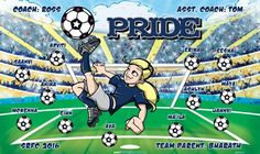Pride B54107-F  digitally printed vinyl soccer sports team banner. Made in the USA and shipped fast by BannersUSA.  You can easily create a similar banner using our Live Designer where you can manipulate ALL of the elements of ANY template.  You can change colors, add/change/remove text and graphics and resize the elements of your design, making it completely your own creation.
