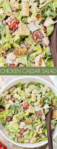 This Pasta Chicken Caesar salad is loaded with romaine and pasta with tomatoes, bacon and juicy chicken mixed with a homemade Caesar Salad dressing. Chicken Ceasar Pasta Salad, Caesar Pasta Salads, Chicken Ceaser Salad Recipe, Salad With Chicken, Chicken Salad Recipes, Easy Salads, Healthy Salad Recipes, Cold Chicken Recipes, Chef Salad Recipes