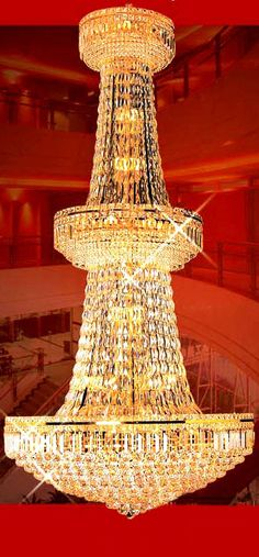 iron golden finish large crystal chandelier 56 lights ESLC0014 - Large Chandelier - Chandeliers - Eshine Large Chandeliers, Large Crystals, Swarovski, Interior And Exterior, Ceiling Lights, Lighting, Building, Crib, House