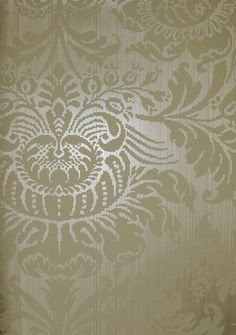 Romany Damask Wallpaper Stone damask design printed on silver metallised strie background