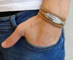 Men's Bracelet - Men Feather Bracelet - Men's Vegan Bracelet - Men's Jewelry - Men's Gift - Boyfriend Gift - Husband Gift - Gift For Dad Bracelets For Men, Fashion Bracelets, Couple Bracelets, Fashion Jewelry, Cute Jewelry, Men's Jewelry, Dainty Jewelry, Jewelry Bracelets, Jewelry Storage