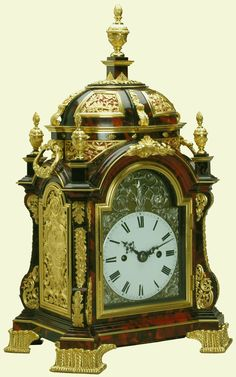 Table clock  c.1765, James Newton (active 1760) Tortoiseshell-veneered oak case with gilt bronze mounts and enamel and silver dial | 38.0 x 23.0 x 17.5 cm