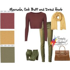 marsala oak buff and dried herb by imogenl on Polyvore featuring Les Éclaires, Michael Antonio, Jigsaw, Mulberry and Pantone