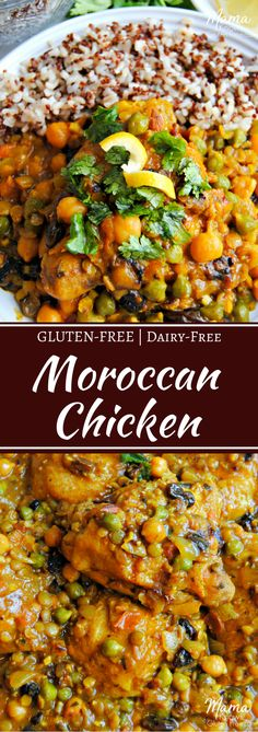 Moroccan Chicken {Gluten-Free, Dairy-Free} Moroccan Chicken is a savory dish made with an aromatic spice blend and lemon. Chicken thighs are smothered in an exotic sauce with garbanzo beans, lentils, onions, and raisins. Garbanzo Bean Recipes, Chickpea Recipes, Lentil Recipes, Healthy Recipes, Recipes For Lentils, Turkey Recipes, Healthy Food, Healthy Eating, Gluten Free Recipes For Dinner