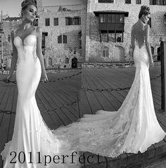 2015 Brand Open Back Mermiad Train Corset  Applique Bridal Wedding Dresses Gowns