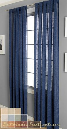 "Belgique Curtain Panel is available in 13 colors. Mediterranean style with open weave, works as semi sheer curtains or very light coverage.  Available in ready-made curtain sizes 84"", 96"", 108"" inch and 120"" inch length sizes.  Grommets or back/tabs with rod pocket option.  Scarf swag in 216"" inch size.  Blackout lining available as a custom option or Fabric by the yard available for full custom window treatments (pleated draperies, roman shades)."
