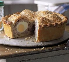 Scotch egg pie. This spin on the picnic classic adapts a pork pie recipe and transforms it into a homely bake in crisp pastry.