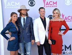 (L-R) Brittney Marie Cole, singers Brian Kelley and Tyler Hubbard of music group Florida Georgia Line, and Hayley Stommel attend the 52nd…