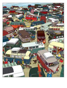 L'affiche First Bay Camper illustre l'arrivée du premier Combi VW Bay windows de 1968 dans un camping rempli de VW Combi Split windows ...