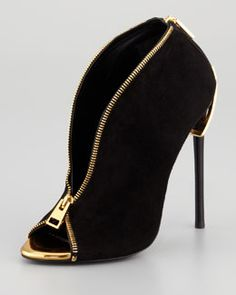 X1U4N Tom Ford Zipper-Heel Suede Zip-Front Bootie