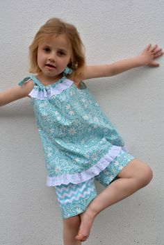 Pillowcase top & shorts Peachy Dress & Playsuit sewing pattern http://www.felicitysewingpatterns.com/product/special-opening-price-700-peachy-dress-playsuit-girls-dress-and-romper-sewing-pattern-6-styl