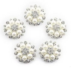 ULTNICE Faux Pearl Flower Buttons Embellishments for Craf... https   www.  Button FlowersDiy ... f69c4740b365