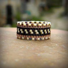 Seed bead ring Beaded ring Peyote ring Beadwoven by HappyBeadwork