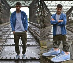 Norse Projects Worker Jacket, Norse Projects Niels Tee, Gap Cargo Pants, Nike Waffle Racer 2 Sneakers