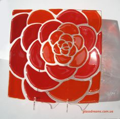 Glass plate Red rose fusing technic. by SpecialGlass on Etsy, $50.00
