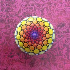 Jewel Drop Mandala Painted Stone- Sea Urchin- fire heart