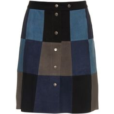 Sea Patchwork suede mini skirt (650 BRL) ❤ liked on Polyvore featuring skirts, mini skirts, bottoms, saias, blue multi, high-waisted skirts, blue mini skirt, short skirts, short blue skirt and short mini skirts