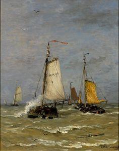 Hendrik Willem Mesdag, Scheveningse vissersschepen op zee (of: Pinken op zee), 1891-1915, olieverf op doek, 70.5 x 56.5 cm, Groninger Museum, Groningen