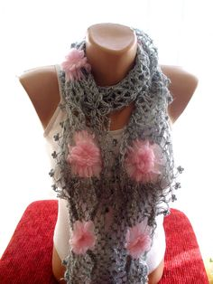 Silver gray and pink lace mohair neckwarmer  by redrosewholesaler #etsy #etsyfinds #etsygifts #etsyfashion