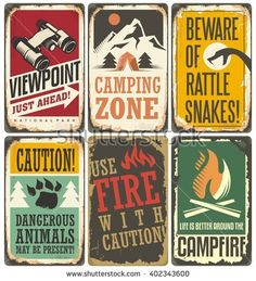 Set of retro outdoor camp signs and poster templates. Warning and info tin signs collection for camping site or national park on old scratched background. Retro Camping, Best Tents For Camping, Camping Signs, Camping Theme, Tent Camping, Camping Hacks, Campsite, Outdoor Camping, Camping Bedroom