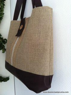 burlap tote bag shoulder bag in jute burlap and by boonestaakjes
