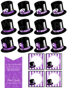 16 Purple and Black TOP HAT Printables  Tags / by HuesStudio, $3.50 Perfect for weddings, black tie affairs or maybe a magic themed party. #aliceinwonderland #tophat #printable #kidparty #ideas #diy #bridal #wedding #shower #babyshower #swanky #prom #madhatter