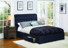 Drorit dark gray fabric tufted under bed storage drawers queen bed set. This set includes the Queen headboard with tufting, footboard with under beds drawers and rails . Bed measures x x H. Some assembly required. King Bedroom Sets, Queen Bedding Sets, Luxury Bedding Sets, Modern Bedding, Queen Bedroom, Queen Beds, Modern Bedroom, Master Bedroom, Under Bed Drawers