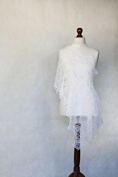 READY to SHIP Wedding shawl knit shawl white by KnitwearFactory, $112.00