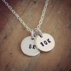 Small sterling silver 5k 10k necklace  hand stamped by JustJaynes, $26.00