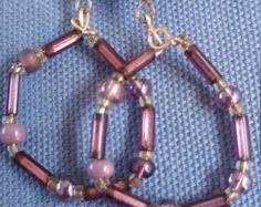 Purple hoop Bead Earring,drop earring,dangle earring,hoop  earring,purple earring by dawnsbeadsdesigns. Explore more products on http://dawnsbeadsdesigns.etsy.com