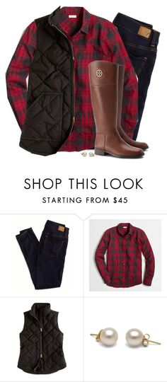 """""""Plaid flannel, vest & riding boots"""" by steffiestaffie ❤ liked on Polyvore featuring American Eagle Outfitters, J.Crew and Tory Burch"""