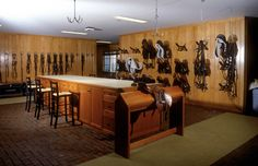 I like the idea of having a tack cleaning station complete with hooks hanging from the ceiling and a saddle rack. Now cleaning can take place out of the way of the busy barn aisle