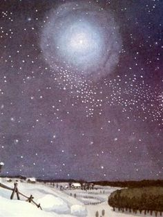 full moon. I really like the look of this illustration, the moon's glow and how the stars are painted...