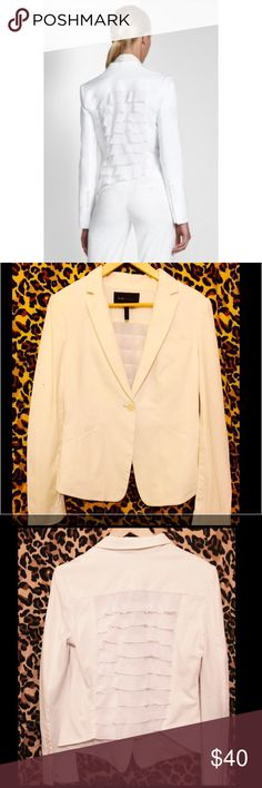 💕BCBG white blazer with ruffles💕 Beautiful and unique white blazer with ruffles on the back. In Excellent condition. No stains of any sort. BCBGMaxAzria Jackets & Coats Blazers