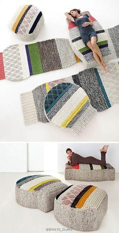 Wool Furniture Mangas | GAN | Patricia Urquiola  Unieke zit objecten handgemaakt met een weefgetouw.  http://www.patriciaurquiola.com/design/mangas-collection/