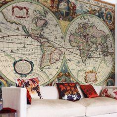 World map wallpaper buy online maps international best games vintage hondius world map wallpaper gumiabroncs Choice Image