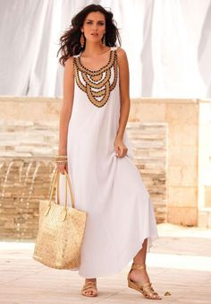 White-Roamans A Line Dress with Gold neck Detail