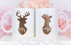 Couple Mugs Couples Gift Set Mr and Mrs Mugs Hubby and by Mugsby Wedding Gifts For Newlyweds, Newlywed Gifts, Unique Wedding Gifts, Couple Mugs, Couple Gifts, Christmas Couple, Christmas Mugs, Christmas Ideas, Wedding Mugs