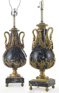 A PAIR OF LOUIS XVI STYLE GILT BRONZE-MOUNTED GREEN MARBLE URNS FRANCE, LATE 19TH/EARLY 20TH CENTURY