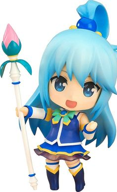 """From the anime series """"KONO SUBARASHII SEKAI NI SYUKUFUKU WO."""" comes a rerelease of the Nendoroid of the beautiful goddess that can also be rather ditzy, Aqua. She comes with three face plates including a smiling expression, a contemptuous expression and a crying expression to show that she can be quite the cry baby. Optional parts include her staff as well as parts to recreate her party trick. Enjoy posing Aqua in all sorts of poses #animegirl #nendoroid #figurine #cute #magic #blue #kawaii"""