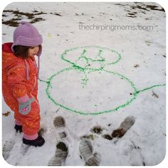 Snow Art--All you need is a snow marker and snow. I used a baggie and colored water and poked a hole. You could also use squeeze bottle or spray bottles and colored water.