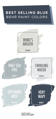 Inspired by the beach and seashore, these best selling blue paint colors from BEHR® Paint are the perfect choice for your home. This paint color palette includes light neutral shades like Offshore Mist, Wind's Breath, Swirling Water, and Half Sea Fog as well as dark hues like Very Navy. Click below to see how you can add a coastal style to your interior design scheme.
