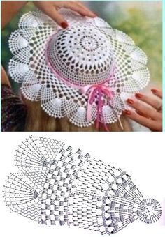 Diy Crafts - It is a website for handmade creations,with free patterns for croshet and knitting , in many techniques & designs. Crochet Beret Pattern, Crochet Diagram, Crochet Motif, Crochet Doilies, Crochet Lace, Crochet Patterns, Filet Crochet, Crochet Summer Hats, Crochet Kids Hats