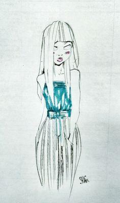 Cute girl sketch yardesign